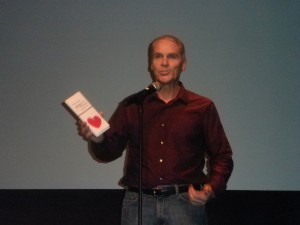 Frederick M. Dudek speaking at the Bicycle Film Festival