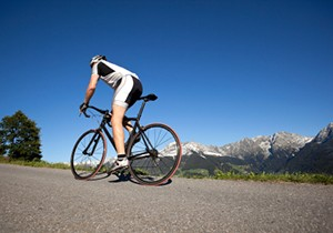 Photo of a man on a bicycle